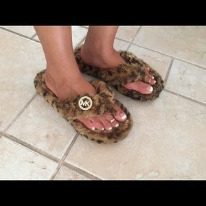 Michael Kors Leopard Fuzzy Thong Slippers